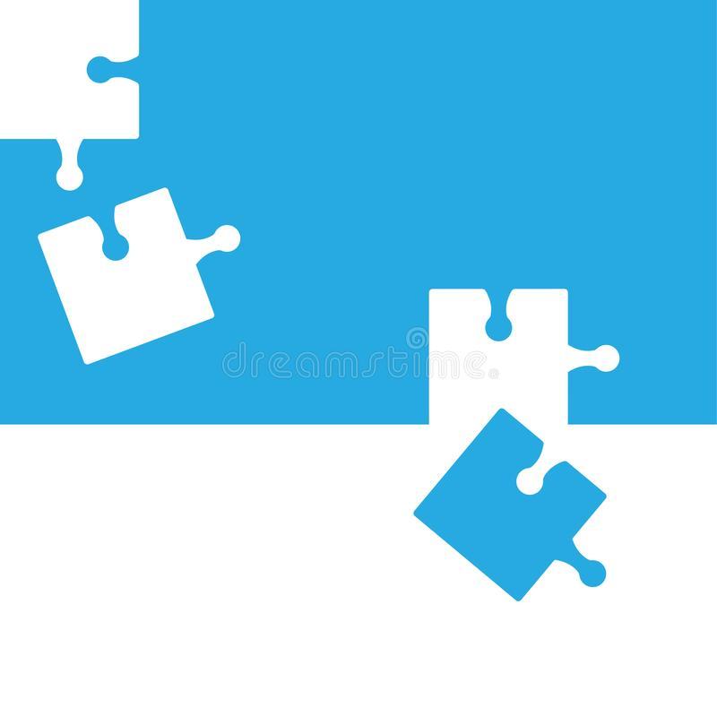 Puzzle abstract background, blue and white colors. Vector. Illustration royalty free illustration