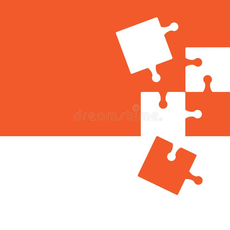 Puzzle abstract background, orange and white colors. Vector. Illustration stock illustration