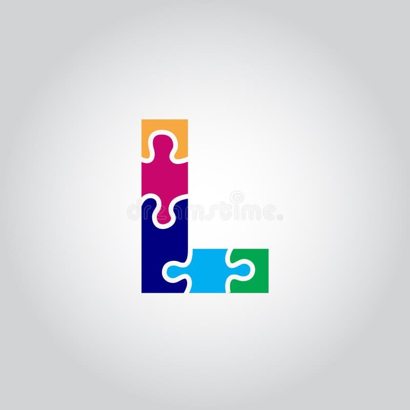Puzzle abstrait L calibre de vecteur de logo de lettre illustration de vecteur