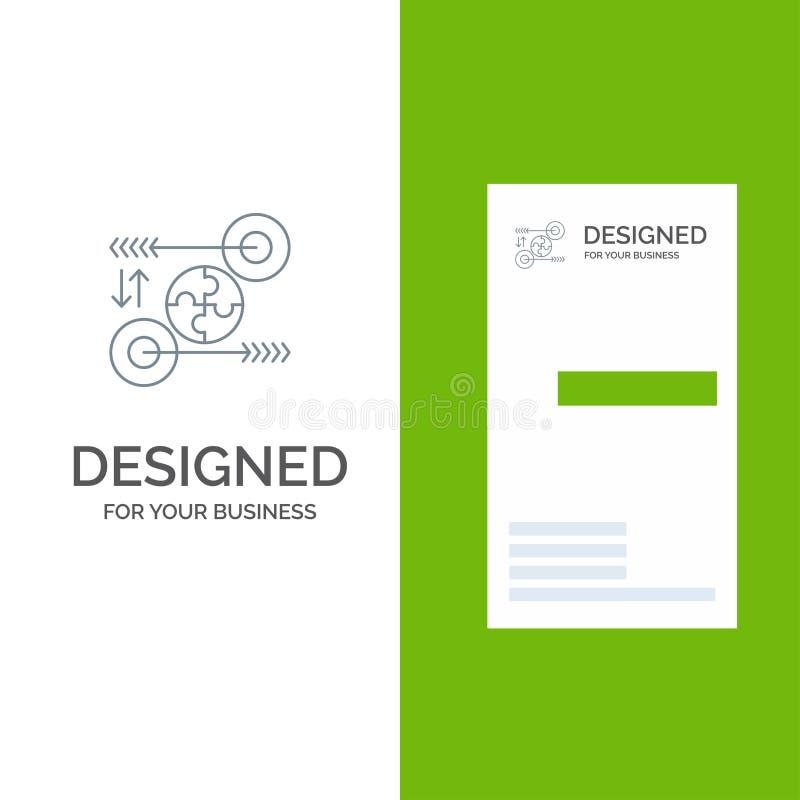Puzzle, affaires, idée, vente, Grey Logo Design pertinent et calibre de carte de visite professionnelle de visite illustration stock