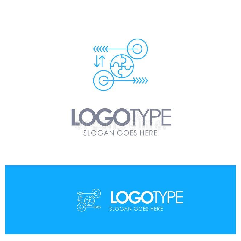 Puzzle, affaires, idée, vente, logo bleu pertinent d'ensemble avec l'endroit pour le tagline illustration libre de droits