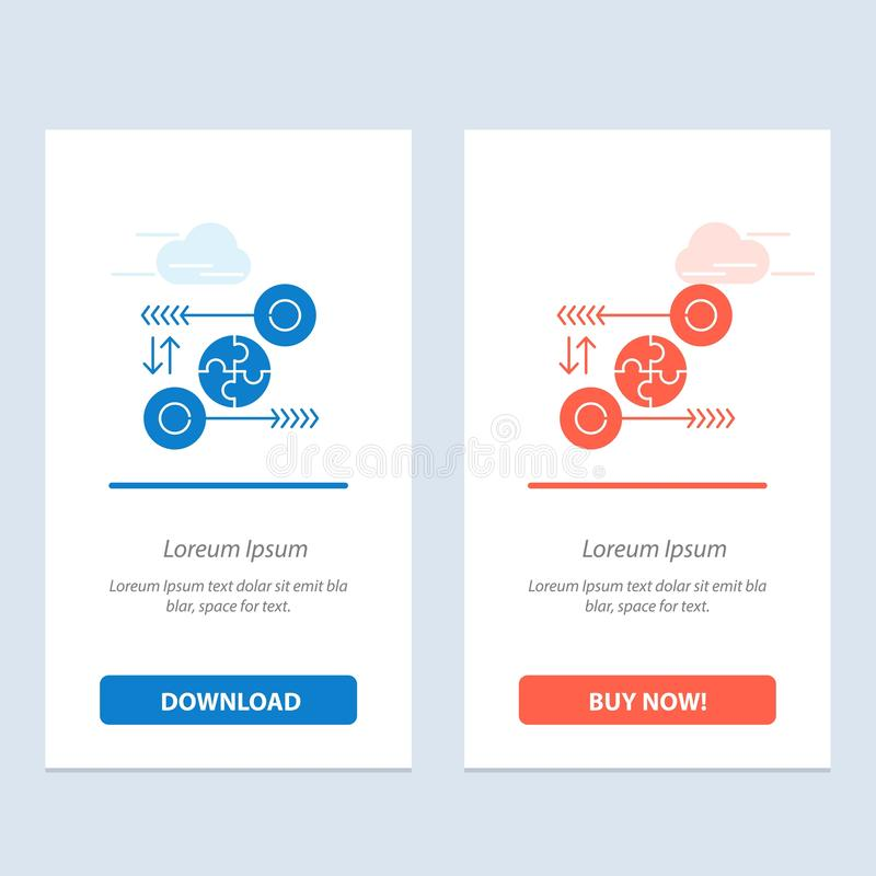 Puzzle, affaires, idée, vente, téléchargement bleu et rouge pertinent et acheter maintenant le calibre de carte de gadget de Web illustration libre de droits