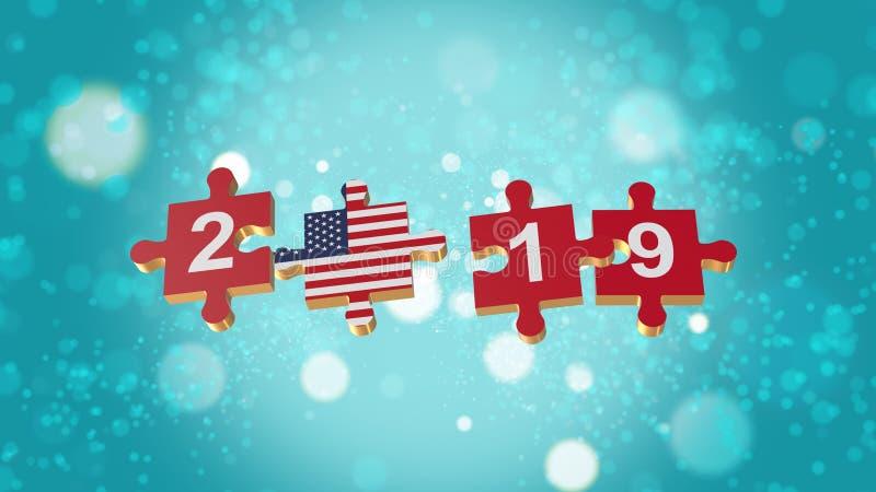 Puzzle alla bandiera di U.S.A. per i nuovi anni 2019 fotografia stock