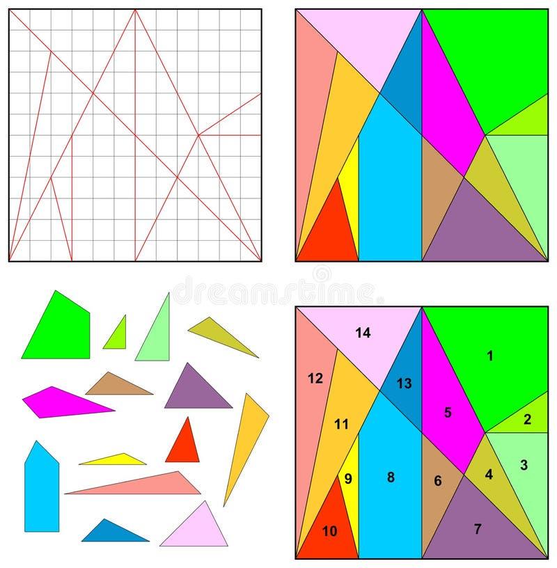 Puzzle Archimedes Key del gioco di Ostomachion royalty illustrazione gratis