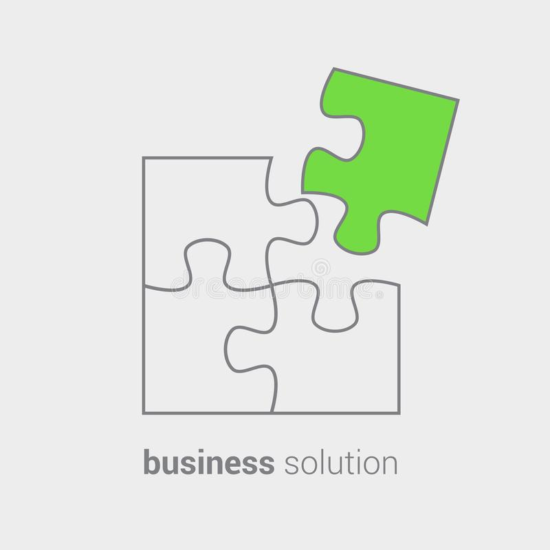 Puzzle as reflection of conceptual vision of combining solutions for business.Use as emblem icon sticker symbol banner stock illustration