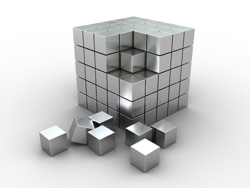 Download Puzzle astratto del cubo illustrazione di stock. Illustrazione di argento - 7309835