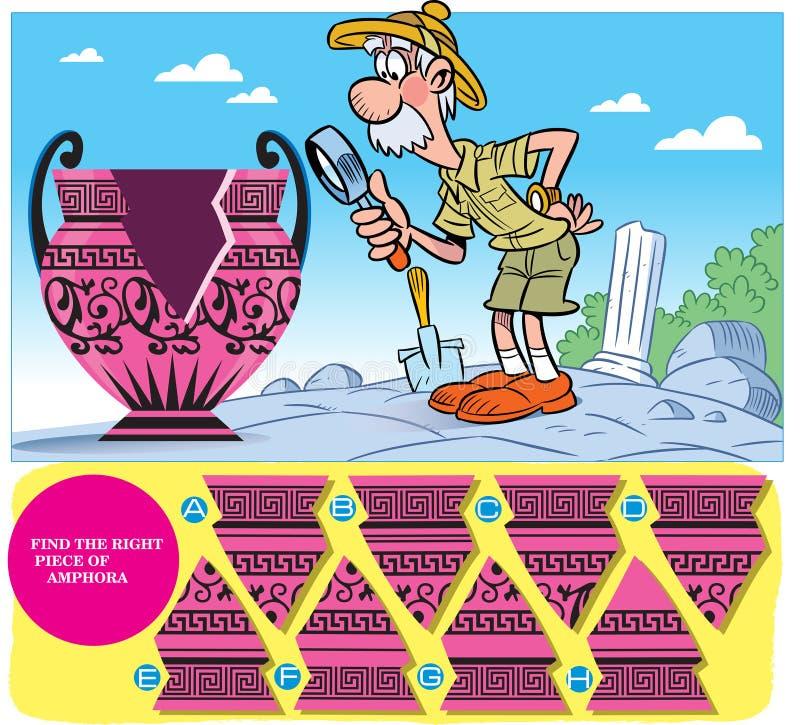 Puzzle avec des détails d'un vieux vase illustration libre de droits