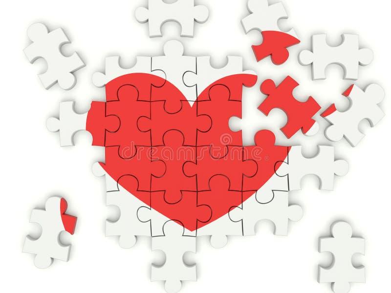 Puzzle avec le coeur illustration de vecteur