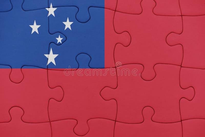 Puzzle avec le drapeau national du Samoa photographie stock libre de droits