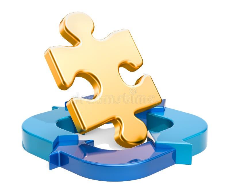 Puzzle avec les flèches bleues, concept d'affaires rendu 3d illustration stock