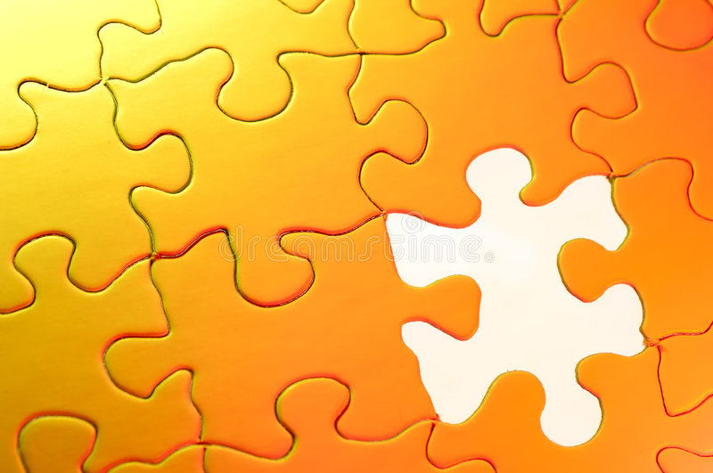 Puzzle Background. Photo of a Puzzle With a Missing Piece royalty free stock images