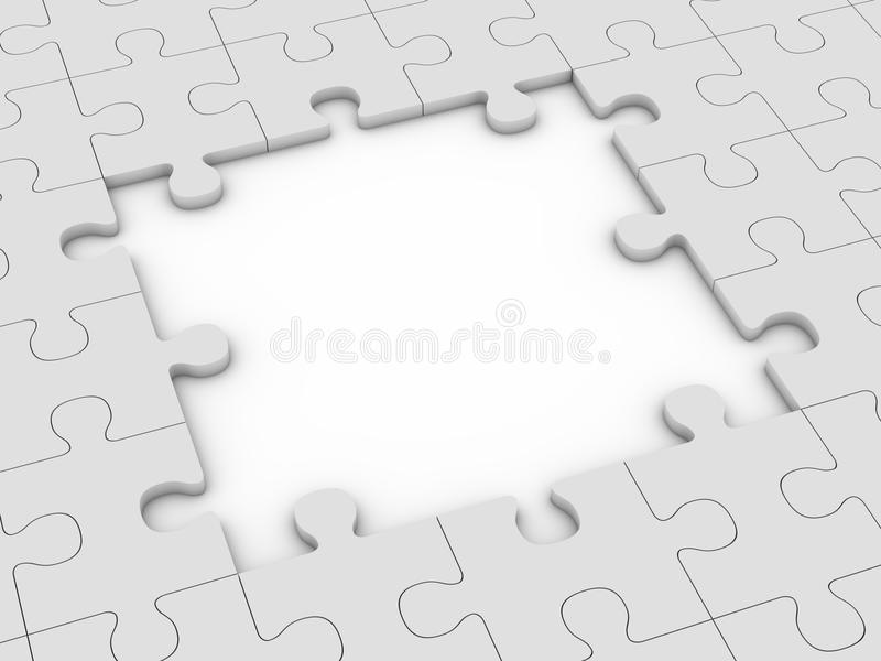 Puzzle with big gap. Grey puzzle with big gap. 3d rendering stock illustration
