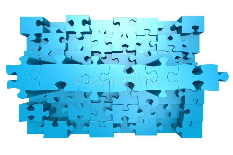 Puzzle blu con effetto 3D illustrazione vettoriale