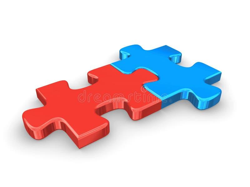 Puzzle blu e rosso illustrazione vettoriale