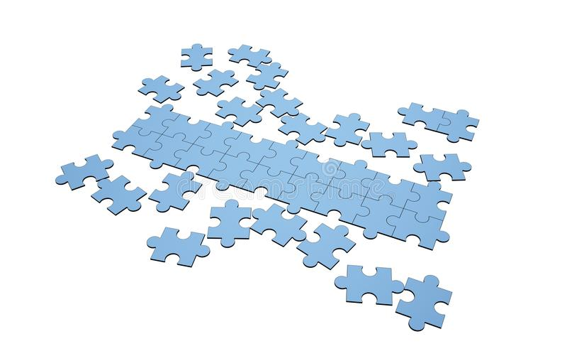 Puzzle blu interrotti e separati con una fila illustrazione vettoriale