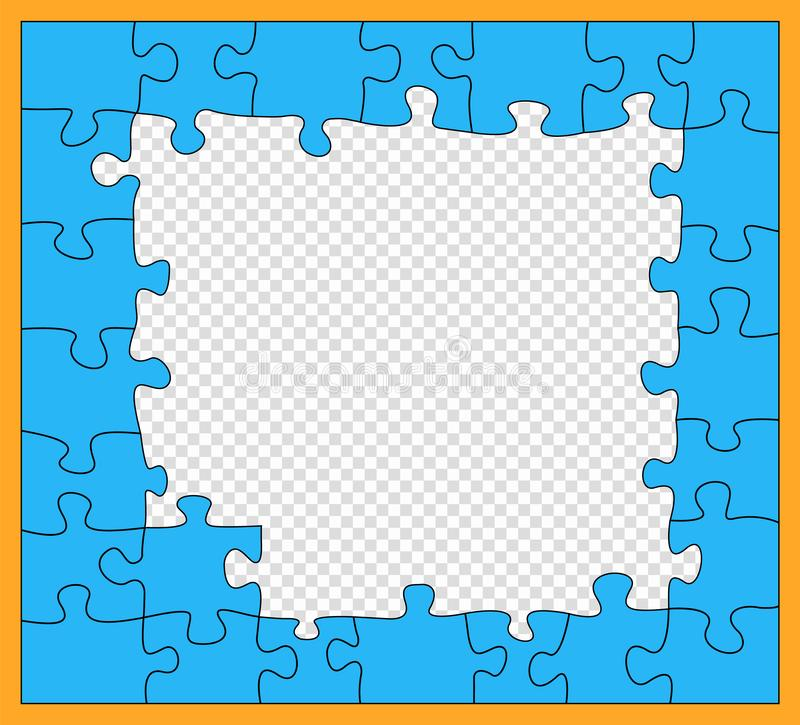 Puzzle, blue mosaic with dark outline, incomplete, flat style. Jigsaw pieces. Details unfold. Business concept. Vector pattern,. Isolated element on a vector illustration