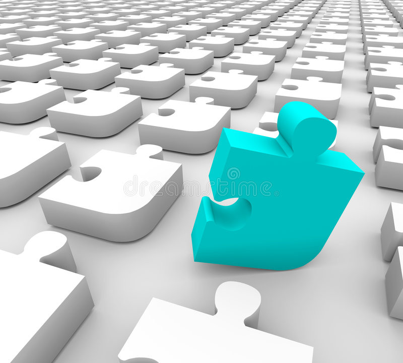 Puzzle - Blue Standing Piece. A blue puzzle piece stands out in a sea of white pieces stock illustration