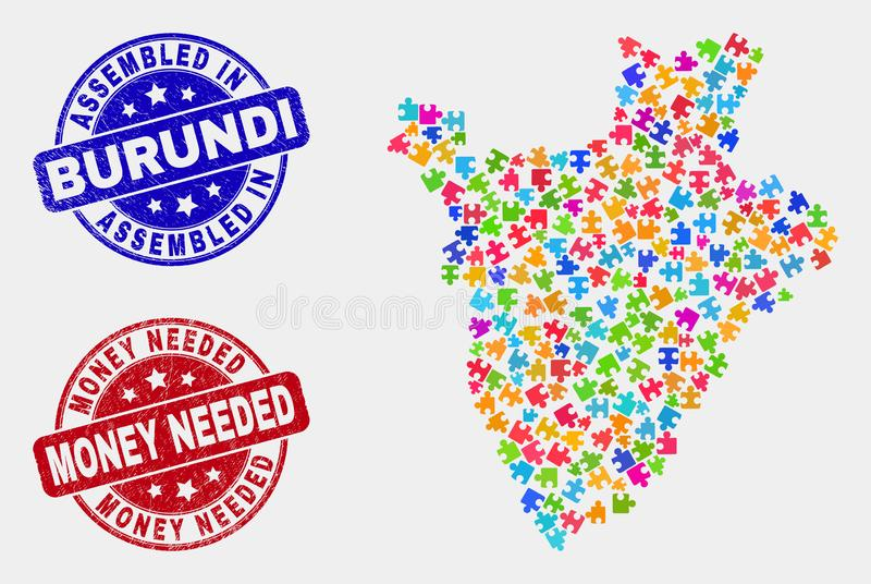 Puzzle Burundi Map and Grunge Assembled and Money Needed Watermarks stock illustration