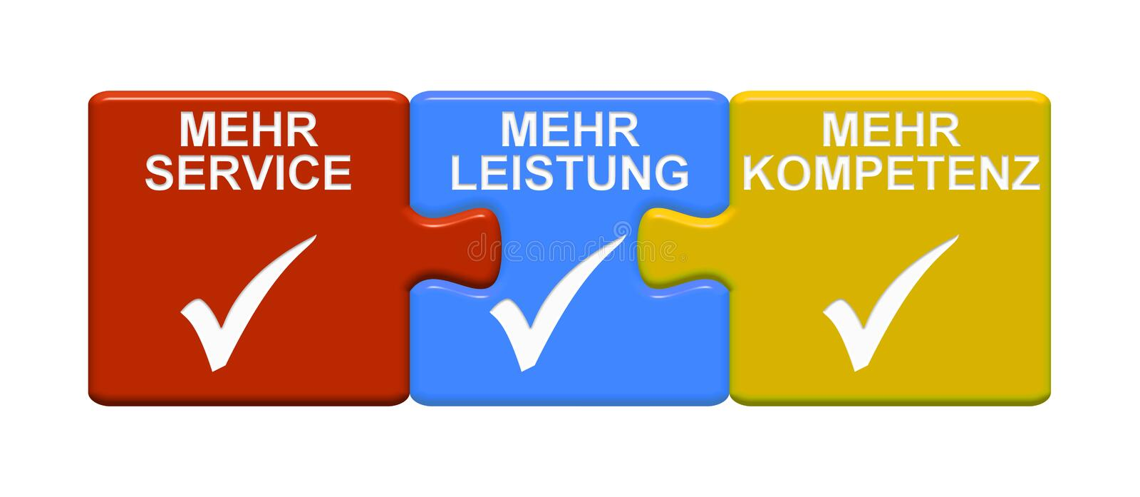 3 Puzzle Buttons showing More Service More Efficiency More Expertise german royalty free illustration