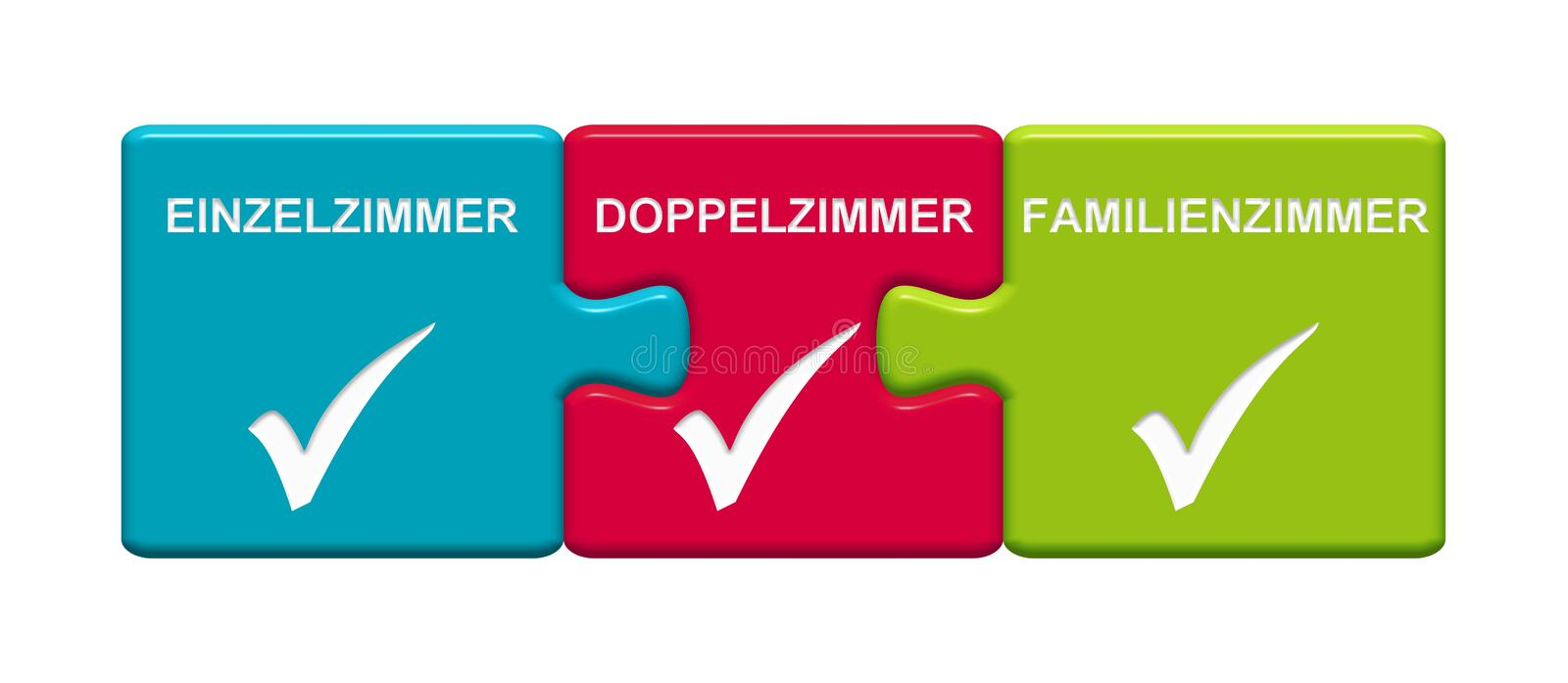 3 Puzzle Buttons showing Single Room Double Room Family Room german. Three Puzzle Buttons with tick symbol showing Single Room, Double Room, Family Room in royalty free illustration