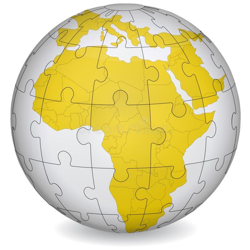 Puzzle cartografico dell'Africa illustrazione di stock