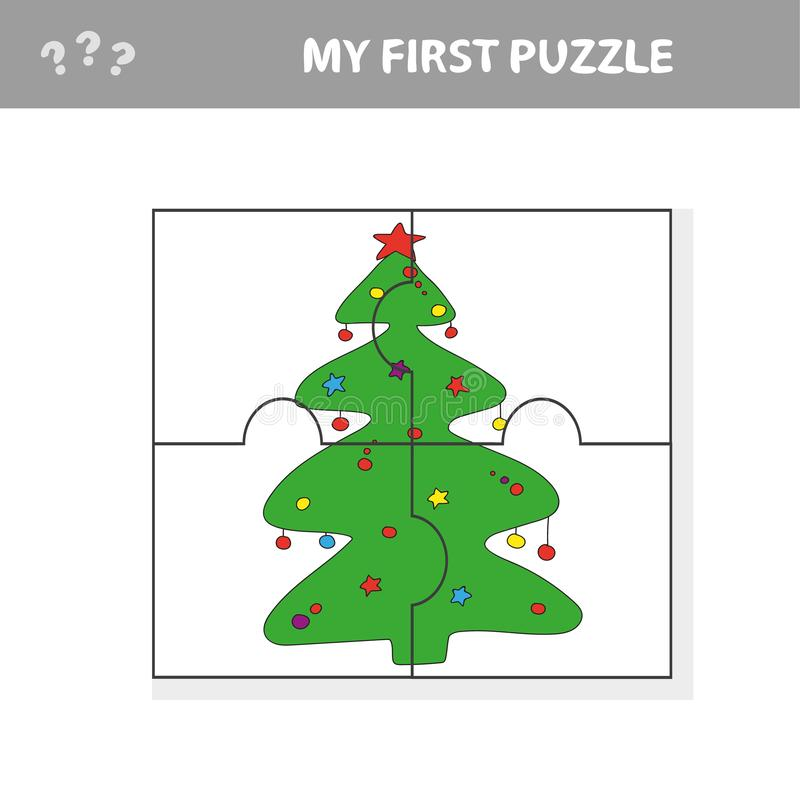 Puzzle Christmas Tree - vector illustration royalty free stock images