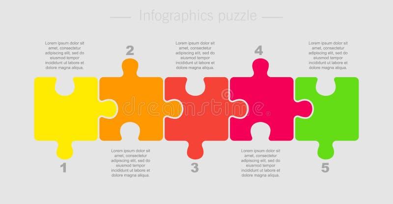 Puzzle cinq pièce pour la présentation d'affaires illustration libre de droits