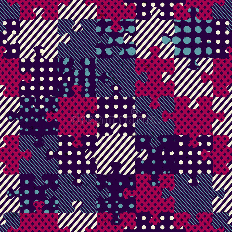 Puzzle cloth seamless pattern stock illustration