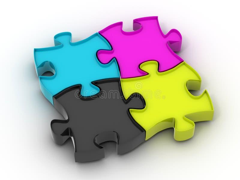 Puzzle. cmyk illustration stock