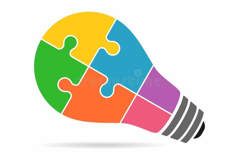 Puzzle coloré de lampe d'ampoule illustration de vecteur