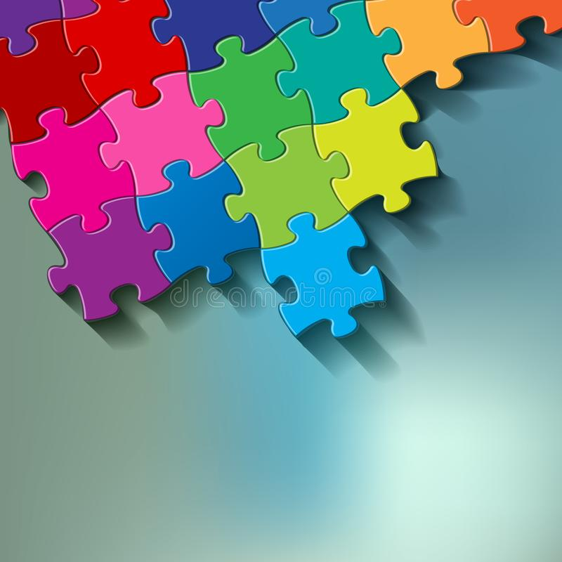 Puzzle colorful on a blue bokeh fog background. stock illustration