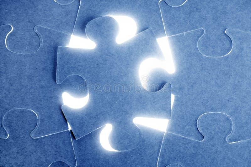 Puzzle, communication teamwork metaphor. Blue puzzle, communication teamwork metaphor, conection challenge stock photography