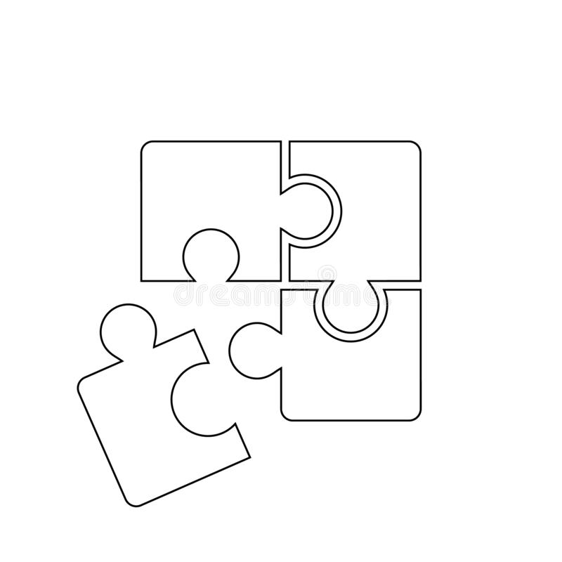 Puzzle compatible icon vector. Jigsaw agreement illustration. Cooperation solution logo. royalty free illustration