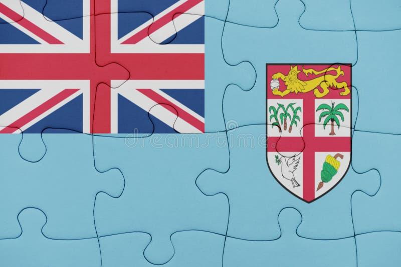Puzzle con la bandiera nazionale delle Figi fotografia stock libera da diritti