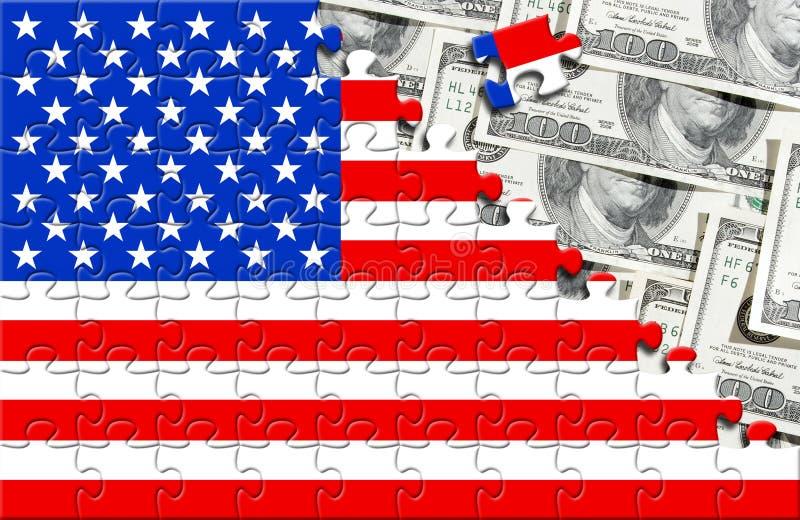 Puzzle con la bandierina S.U.A. ed i dollari fotografie stock libere da diritti