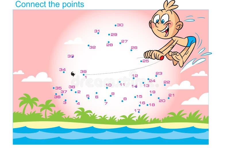 Puzzle con un ragazzo al mare illustrazione di stock