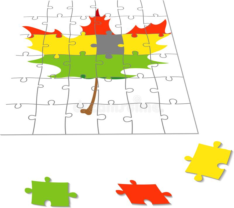 Puzzle con una foglia di acero fotografia stock libera da diritti