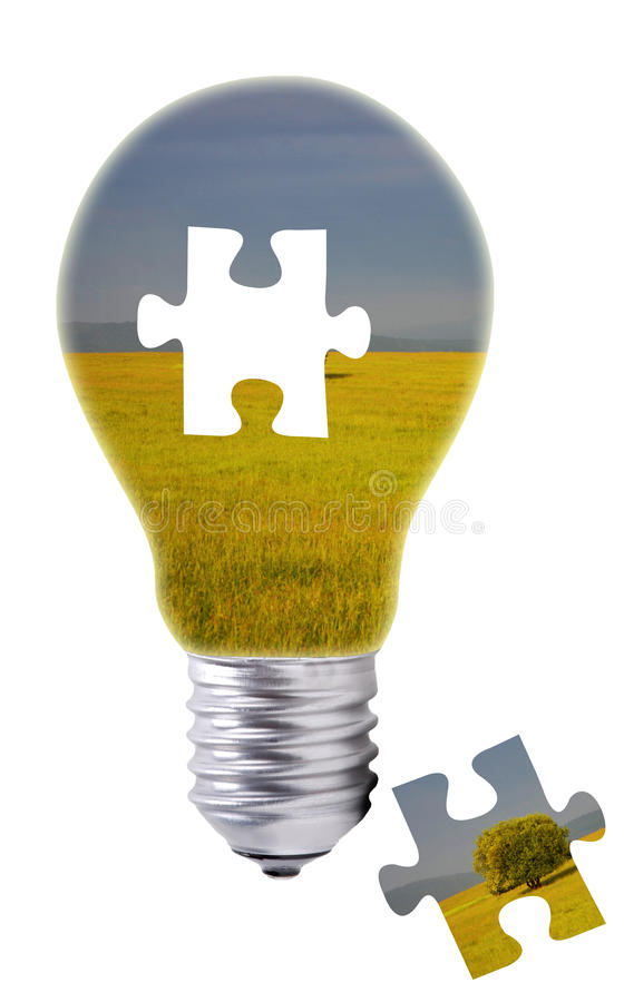 Puzzle concept of a light bulb and a missing piece royalty free stock image
