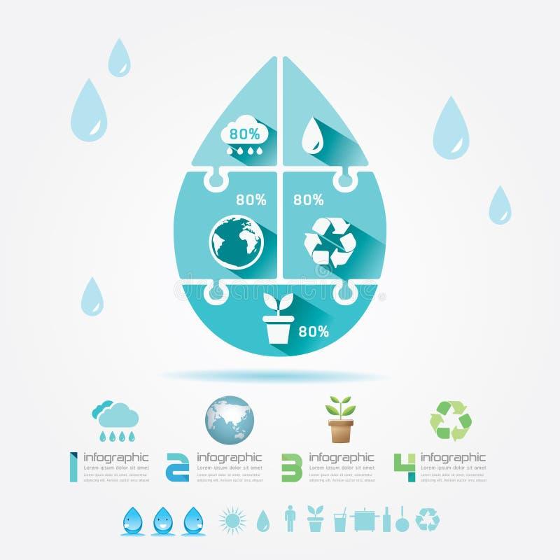 Puzzle Concept.Vector d'Infographic d'écologie d'éléments de conception de l'eau illustration libre de droits