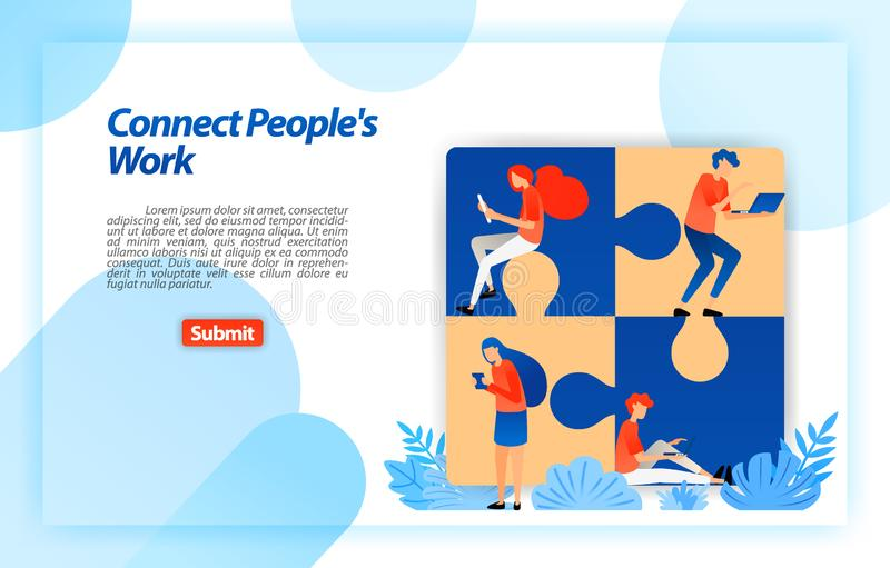 Puzzle that connects people work. find best team in partnership and teamwork in determining corporate structure. vector illustrati vector illustration