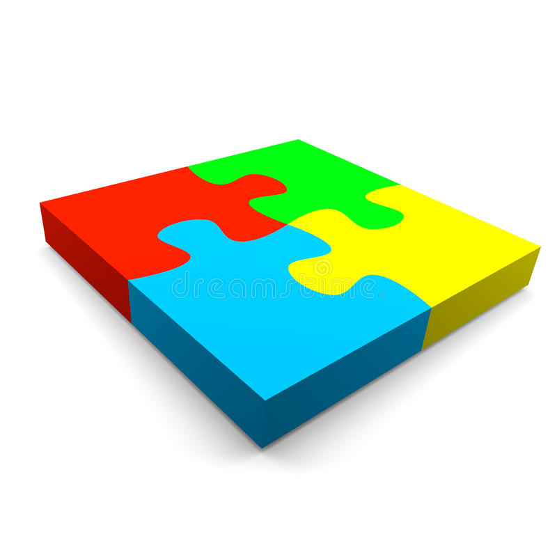 Puzzle cooperation concept. Four color puzzle pieces combined cooperation concept on white background vector illustration