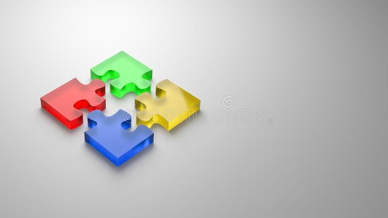 Puzzle Cooperation Concept. Four Color Glassy Puzzle Pieces Combined 3D Illustration on Gray Background with Copyspace, Cooperation Concept vector illustration