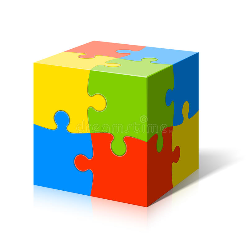 Puzzle cube. 3d Puzzle cube vector illustration