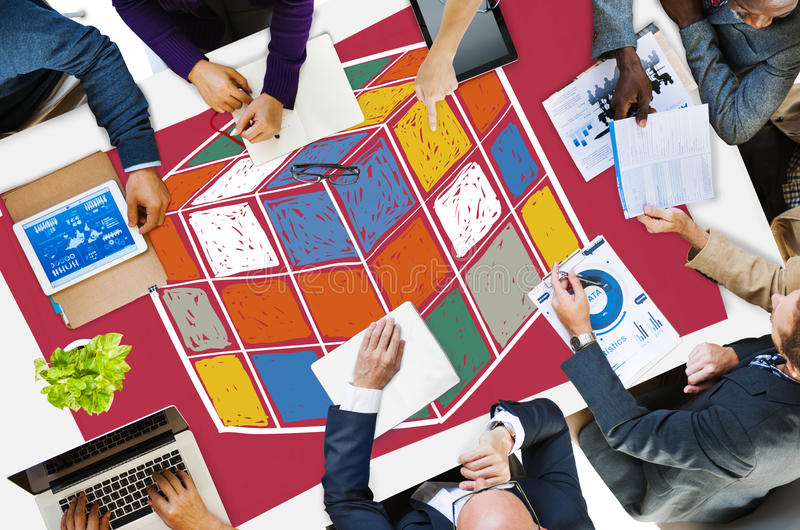 Puzzle Cube Game Cube Shape Intelligence Concept.  stock photography