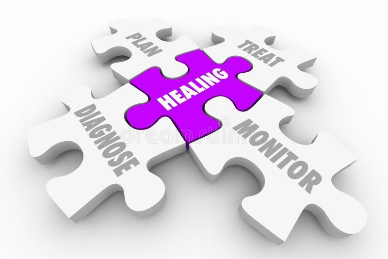 Puzzle curativo di benessere di trattamento di diagnosi illustrazione di stock