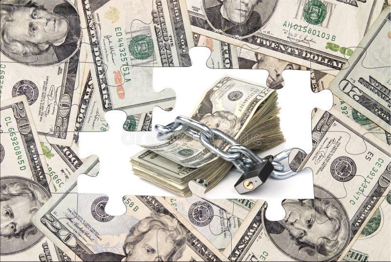Puzzle d'argent avec l'argent liquide enchaîné photos libres de droits