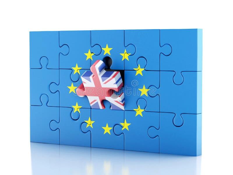puzzle 3d avec le Royaume-Uni et l'Union européenne Brexit illustration libre de droits
