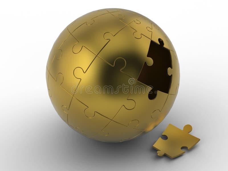Puzzle d'or de sphère, puzzle de sphère sur le fond blanc avec le chemin de coupure illustration stock