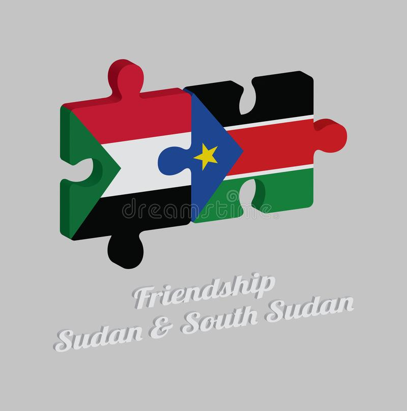 Puzzle 3D della bandiera del Sudan e della bandiera del sud del Sudan con testo: Amicizia Sudan & Sudan del sud Concetto di amich illustrazione di stock