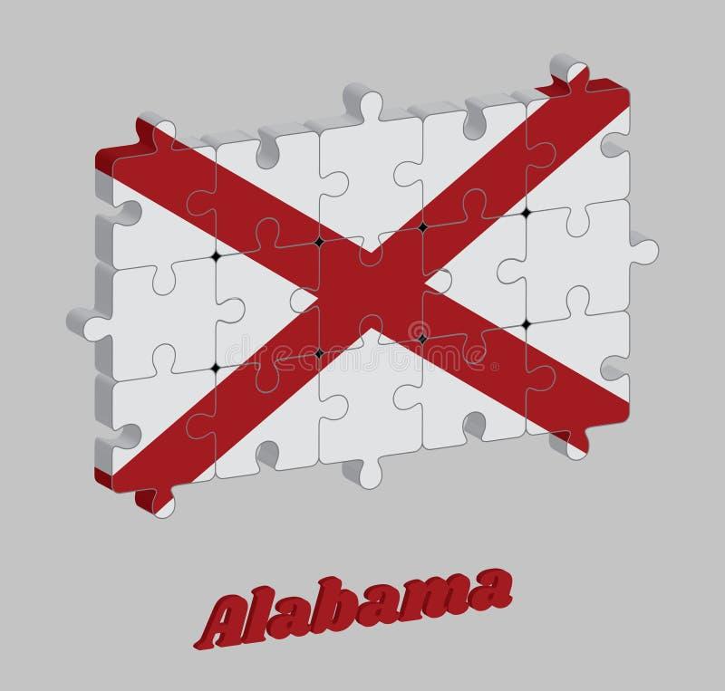 puzzle 3D della bandiera dell'Alabama nel decusse di St Andrew rosso in un campo di bianco Gli stati dell'America illustrazione vettoriale